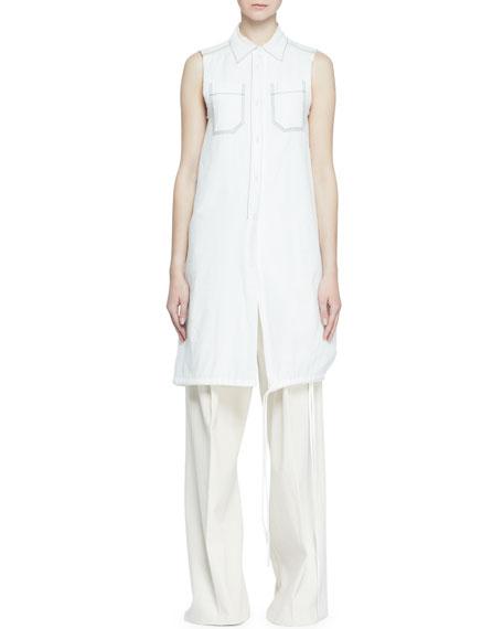 Proenza Schouler Long Sleeveless Button-Front Blouse