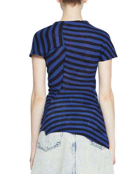 Image 2 of 2: Proenza Schouler Short-Sleeve Twisted Stripe T-Shirt