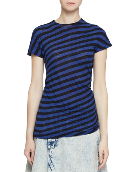 Image 1 of 2: Proenza Schouler Short-Sleeve Twisted Stripe T-Shirt