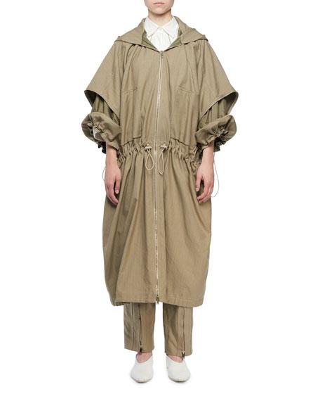 Stella McCartney Zip-Front Washed Cotton Caban Coat