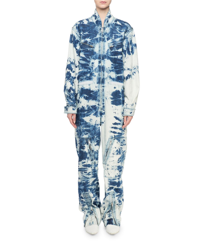 091e314727a06 Stella McCartney Long-Sleeve Tie-Dye Denim Jumpsuit | Neiman Marcus