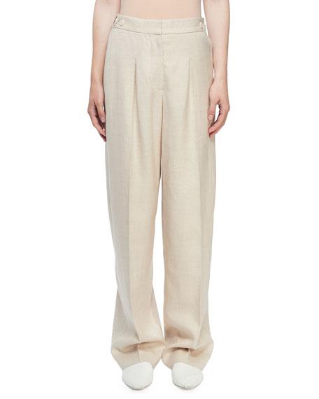 Stella McCartney Linen Button-Tab Pants