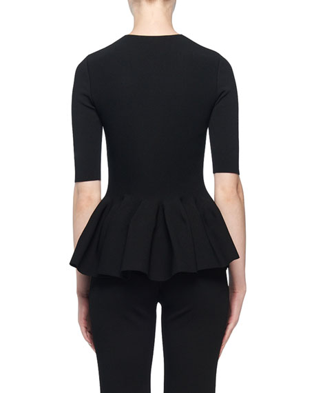 Stella McCartney Short-Sleeve Zip-Front Peplum Top