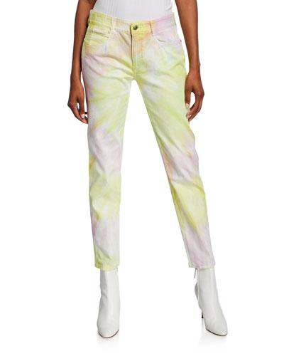 Spiral Tie-Dye Skinny Boyfriend Jeans