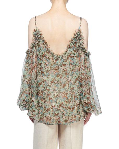 Stella McCartney Cold-Shoulder Meadow Floral Print Blouse