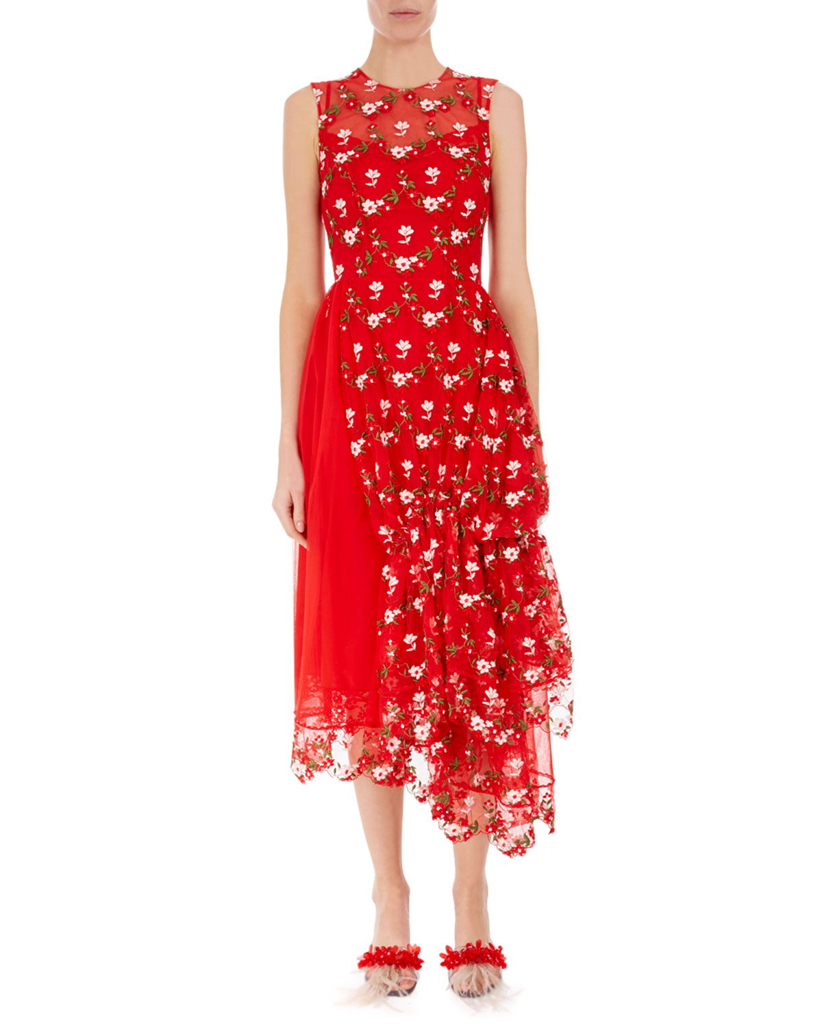 ed1c91f5d76f0c Simone Rocha Sleeveless Floral Embroidered Tulle Dress