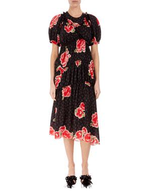 e22d326776ed Simone Rocha Floral Puff-Sleeve A-Line Dress