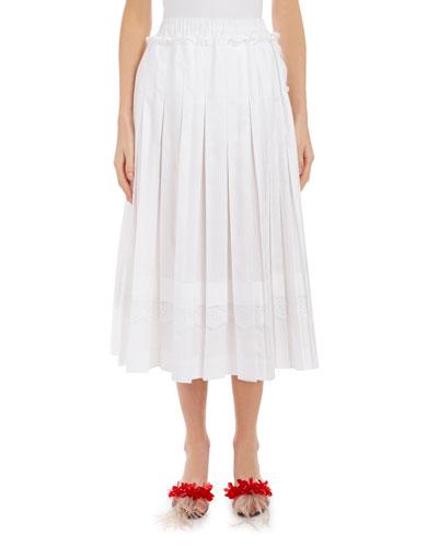 Lace-Trim Pleated Midi Skirt