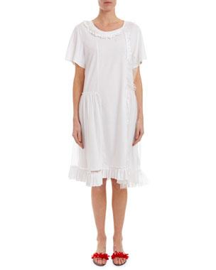 a7247c756756 Simone Rocha Short-Sleeve Tulle-Overlay T-Shirt Dress