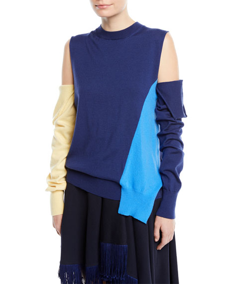 CALVIN KLEIN 205W39NYC Crewneck Cold-Shoulder Colorblock Knit