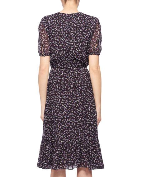 Altuzarra Short-Sleeve Floral-Print Silk Dress