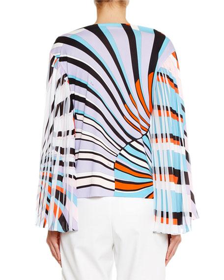 Emilio Pucci Bateau-Neck Pleated-Sleeve Top