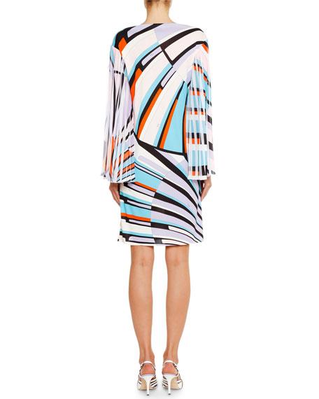 Emilio Pucci Bateau-Neck Pleated-Sleeve Shift Dress