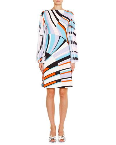 Bateau-Neck Pleated-Sleeve Shift Dress