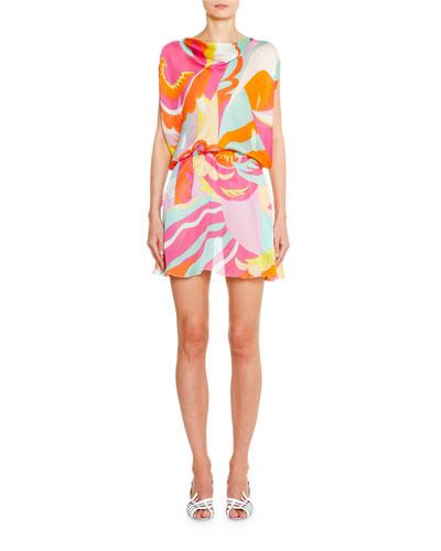 Cowl-Neck Draped-Waist Mini Dress