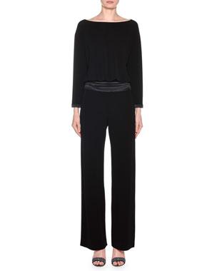 57d41923b3eb Giorgio Armani Long-Sleeve Satin-Waist Straight Leg Jumpsuit