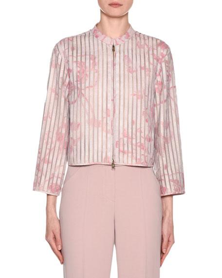 Giorgio Armani Abstract Floral Leather Silk Organza Jacket
