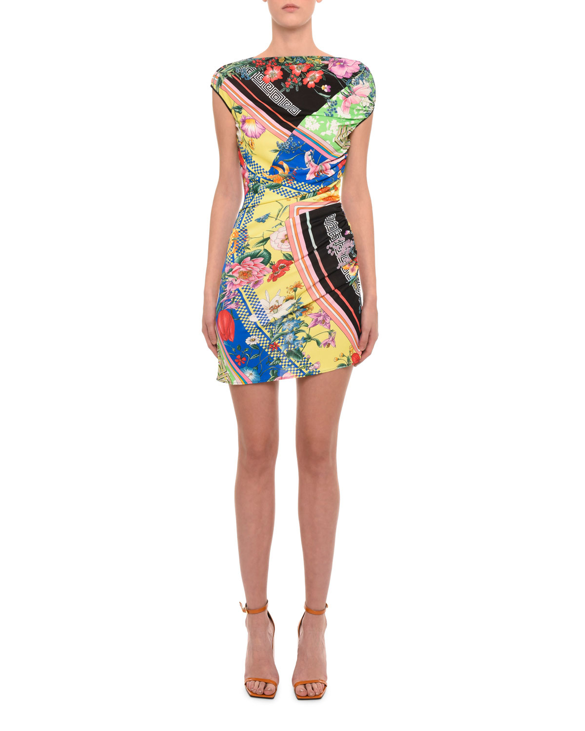 2986ab6b4d9c12 Versace Asymmetric Floral-Print Sleeveless Mini Dress