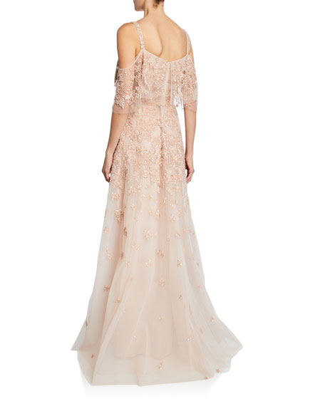 Zuhair Murad Hibiscus Embroidered Cold-Shoulder Gown