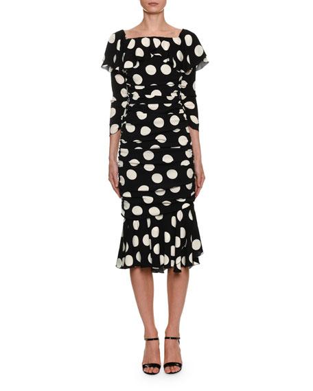 Dolce & Gabbana Off-the-Shoulder Polka-Dot Midi Dress