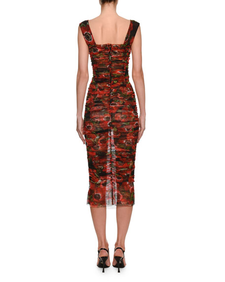 Dolce & Gabbana Sleeveless Anemoni Print Ruched-Tulle Dress