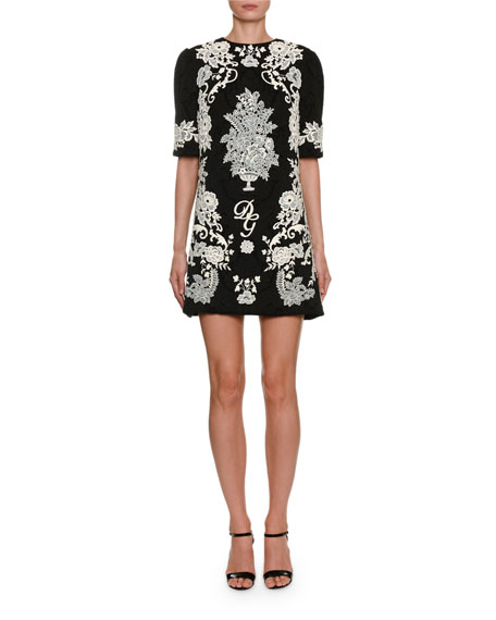 Dolce & Gabbana 1/2-Sleeve Jacquard Place-Lace Mini Dress