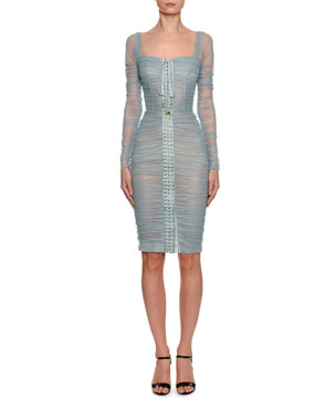 b30a5db0b39 Dolce   Gabbana Long-Sleeve Ruched Shimmer Tulle Corset Dress