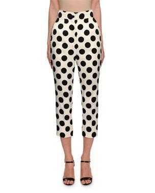 7a0ab8308e Dolce   Gabbana Polka-Dot Duchess Satin Front-Zip Pants