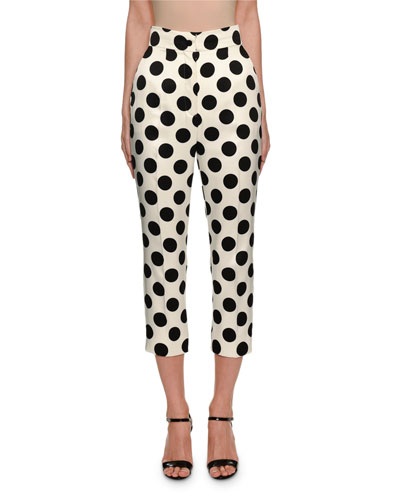 Polka-Dot Duchess Satin Front-Zip Pants