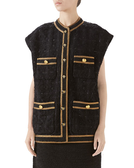 Gucci Embroidered Tweed Vest