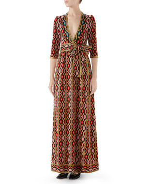 e4b654d749a Gucci Jardin en Hiver Metallic Jacquard Maxi Dress. Favorite. Quick Look