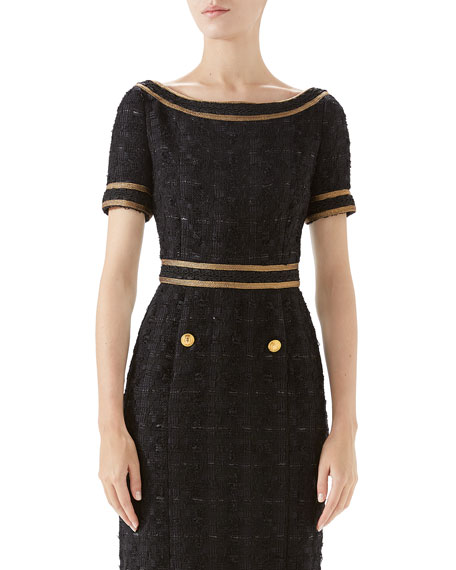 Gucci Boat-Neck Embroidered Tweed Dress