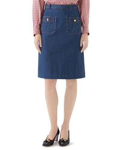Washed Denim Skirt