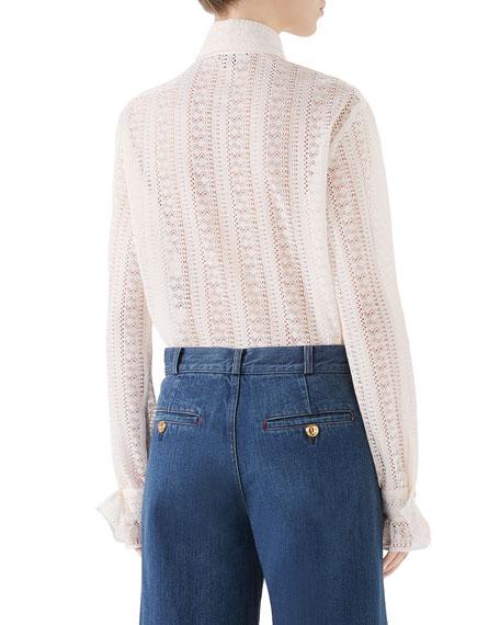 Gucci Striped Lace Long-Sleeve Shirt