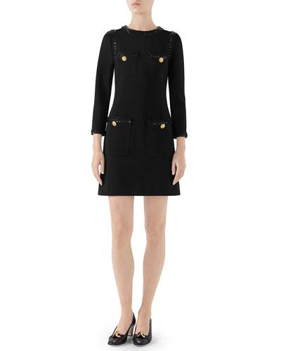 Compact Jersey Dress w/ Sequin Trim