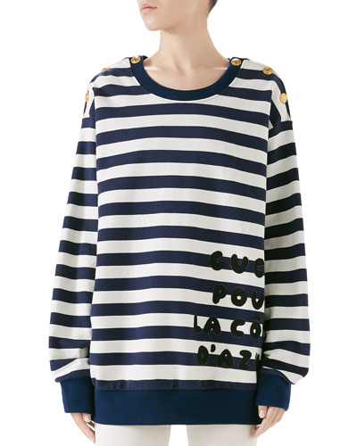Cote d'Azur Striped Patchwork Sweatshirt