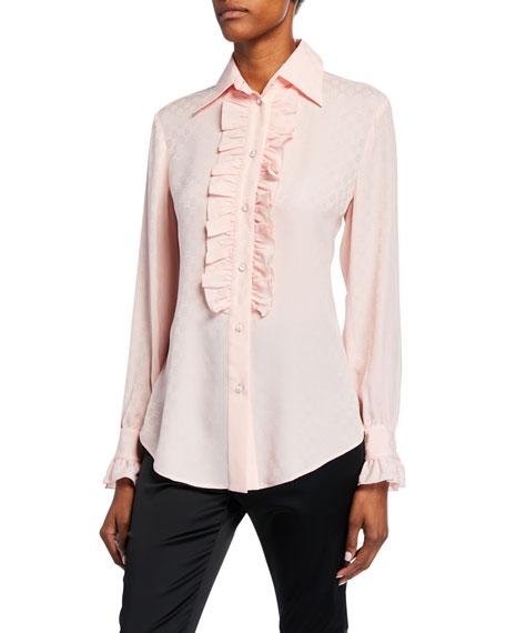 Gucci Ruffled Button-Front Silk Crepe Shirt