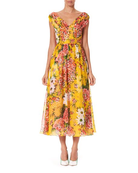 Carolina Herrera V-Neck Floral-Print Silk Midi Dress