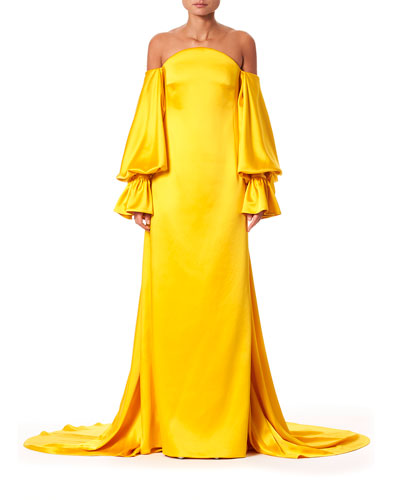 Off-The-Shoulder Balloon-Sleeve Train-Back Gown