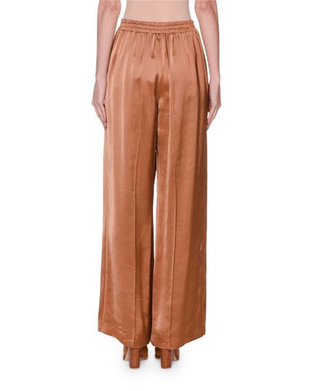 Agnona Satin Wide-Leg Pants