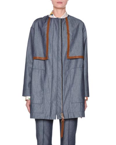 Denim Zip-Front Parka Jacket
