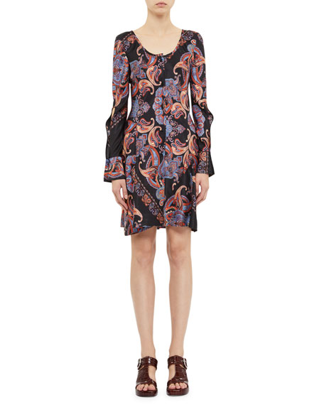 Chloe Bell-Sleeve Paisley Print Mini Dress
