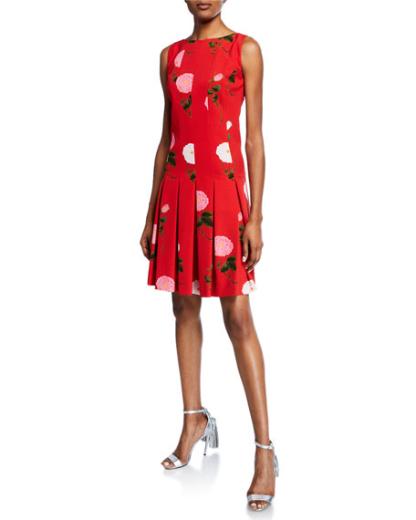 Oscar de la Renta Sleeveless Wild-Rose Pleated Crepe Dress