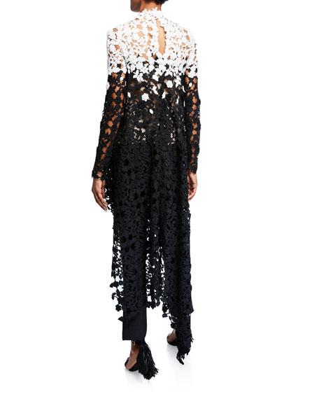 Oscar de la Renta Asymmetric Degrade Lace Tunic
