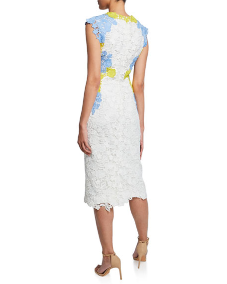 Lela Rose Lace Applique Fitted Sheath Dress