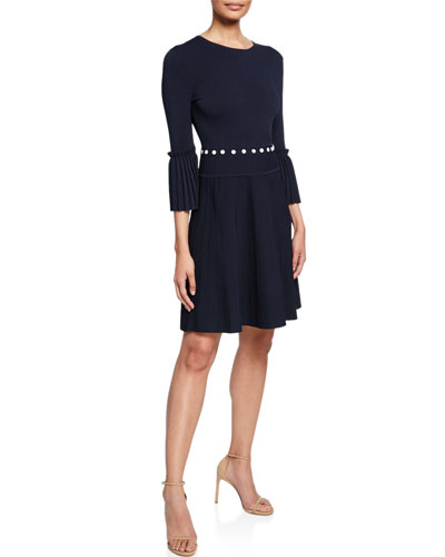 Pleated Dress with Button Details