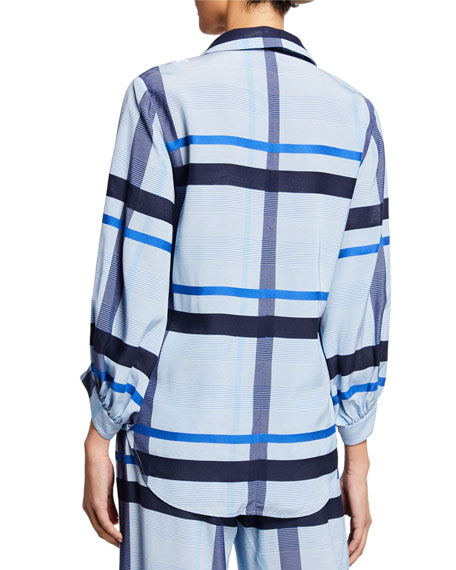 Lela Rose Full-Sleeve Graphic Stripe Top