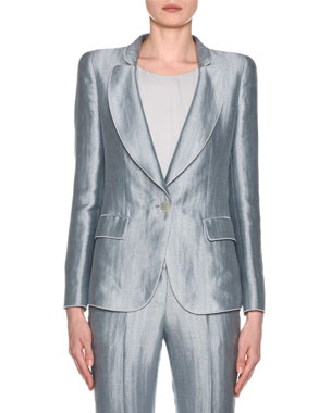 0719c4452c416 Giorgio Armani Metallic Linen Chevron Button-Front Blazer, Ice Blue