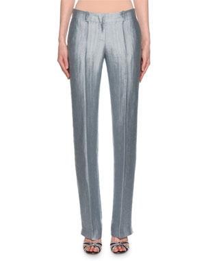 9021df1c420ef Giorgio Armani Metallic Linen Chevron Pants, Ice Blue