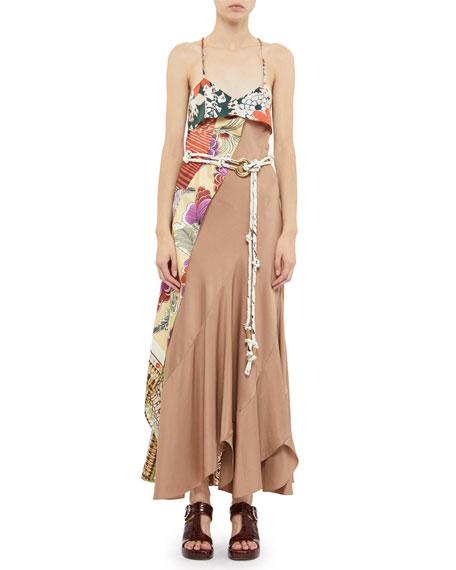Chloe Asymmetric Silk Maxi Dress